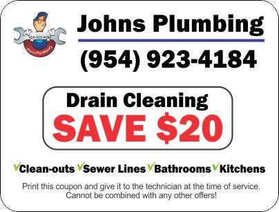 Johns Plumbing $20 Drain Cleaning Coupon